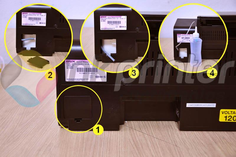 Colocando coletor de resíduo na impressora Epson T50