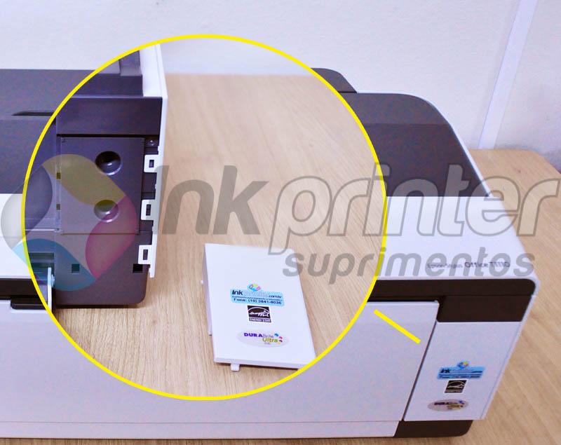 Retirando tampa frontal da impressora Epson T1110