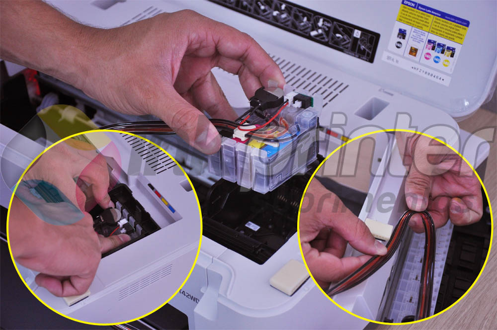 Colocando Mangueira do Bulk Ink na Impressora Epson Work Force T42WD
