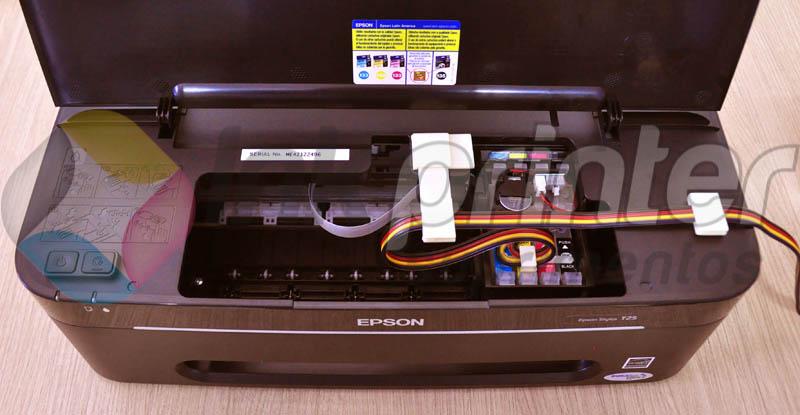 Posição correta da mangueira do bulk ink na impressora Epson T25