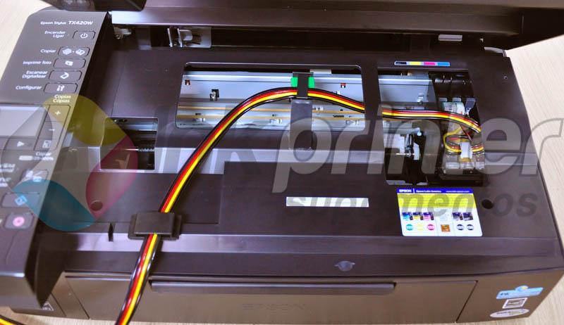 Posição correta da mangueira do bulk ink na impressora Epson TX 420W
