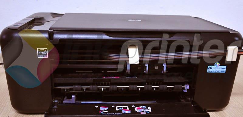 Posição correta da mangueira do Bulk Ink na Impressora HP F4480
