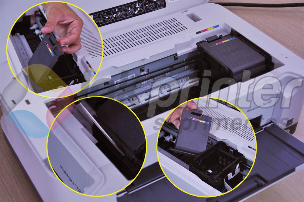 Removendo a Tampa do Carrinho do Cartucho da Impressora Epson Work Force T42WD