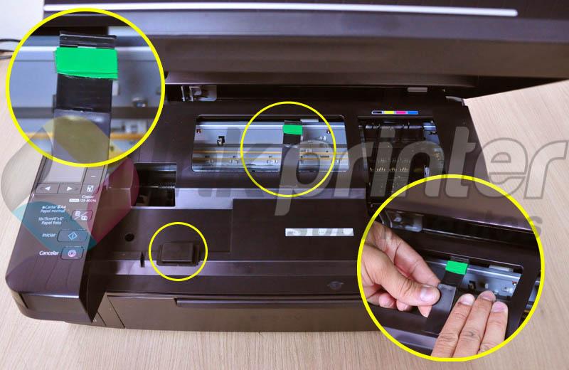 Colando peças do bulk ink na impressora Epson TX 420W